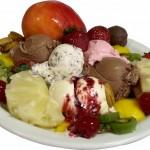 sorvete e frutas