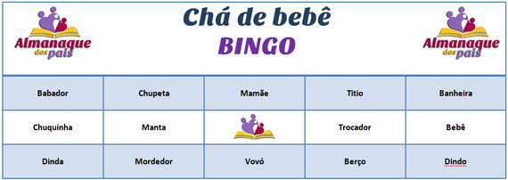 Chá de bebê – 78 cartelas Baby Bingo para imprimir