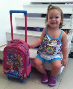 Larissa em seu 1º dia de aula