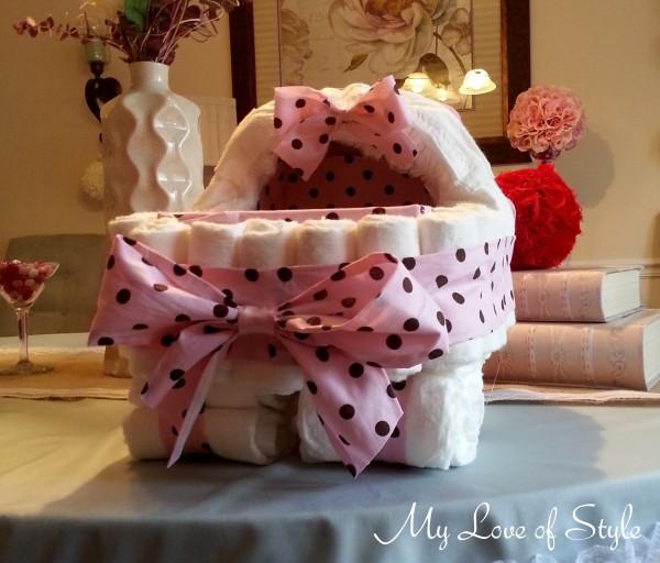 bolo de fraldas de carrinho de bebe