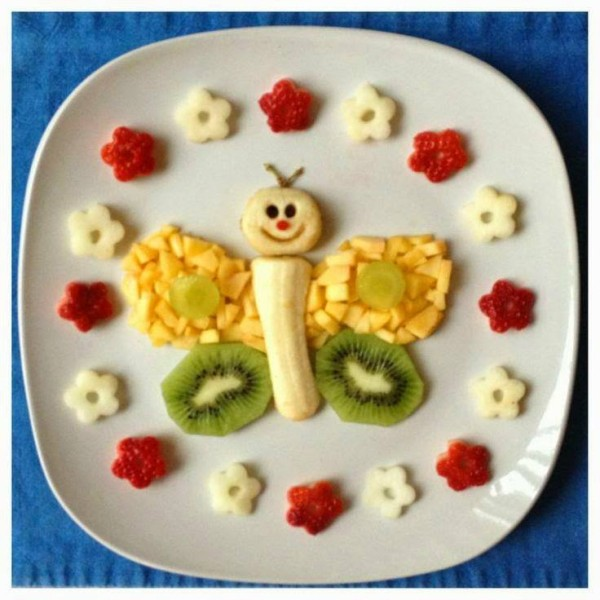 lanche divertido borboleta frutas