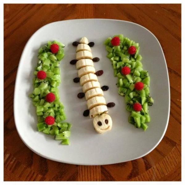lanche divertido centopeia frutas